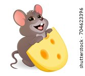 a little funny mouse with a... | Shutterstock .eps vector #704623396