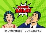 vector pop art style super sale ...   Shutterstock .eps vector #704636962