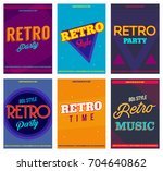retro party posters set  vector ... | Shutterstock .eps vector #704640862
