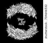 vector black and white peony... | Shutterstock .eps vector #704646532