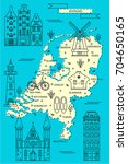 the netherlands map in flat... | Shutterstock .eps vector #704650165