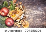 rustic christmas background... | Shutterstock . vector #704650306