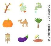 drought icons set. cartoon set... | Shutterstock .eps vector #704660902