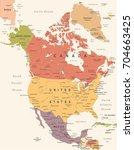 north america map   vintage... | Shutterstock .eps vector #704663425
