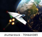 spaceship arrives to earth. 3d... | Shutterstock . vector #704664385