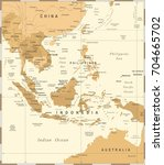 southeast asia map   vintage... | Shutterstock .eps vector #704665702