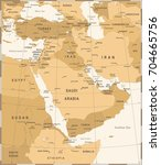 middle east map   vintage... | Shutterstock .eps vector #704665756