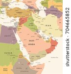 middle east map   vintage... | Shutterstock .eps vector #704665852