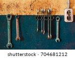 working keys of repair...   Shutterstock . vector #704681212