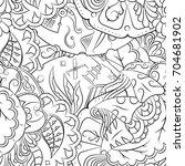 seamless mehndi vector pattern. ... | Shutterstock .eps vector #704681902