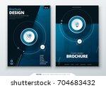 cover set. dark blue template... | Shutterstock .eps vector #704683432