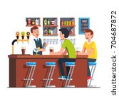 customer man sitting at counter ... | Shutterstock .eps vector #704687872