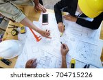 engineer people meeting working ... | Shutterstock . vector #704715226