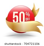50  off red banner with gold... | Shutterstock .eps vector #704721106