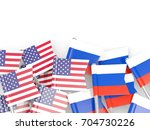 flag pins of usa and russia... | Shutterstock . vector #704730226