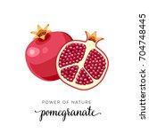 superfood fruit. pomegranate... | Shutterstock .eps vector #704748445
