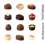 set of chocolate covered bonbon ... | Shutterstock .eps vector #704748466