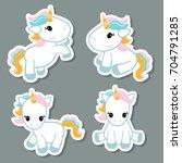 collection cartoon unicorn... | Shutterstock .eps vector #704791285