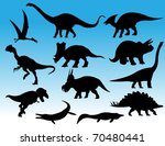dinosaurs silhouettes | Shutterstock .eps vector #70480441