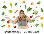 fat woman looks happy while... | Shutterstock . vector #704810326