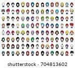 doodle characters vector set... | Shutterstock .eps vector #704813602