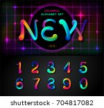 colorful dynamic liquid ink... | Shutterstock .eps vector #704817082