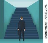 businessman is climbing the...   Shutterstock .eps vector #704819296