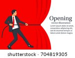 businessman hands pull rope red ... | Shutterstock .eps vector #704819305