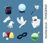 magician icons set. surprise... | Shutterstock .eps vector #704828965