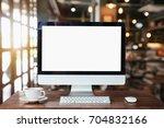 computer monitor  keyboard...   Shutterstock . vector #704832166
