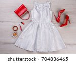 Silver Party Dress On Wooden...