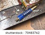 motorcycle suspension - stock photo