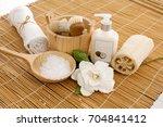 spa bath setting on mat  | Shutterstock . vector #704841412