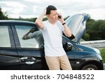 young asia man having trouble... | Shutterstock . vector #704848522