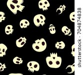 seamless halloween pattern with ... | Shutterstock .eps vector #704874838
