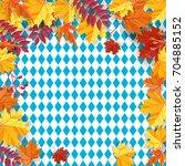 autumn leaves frame background... | Shutterstock .eps vector #704885152