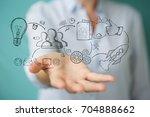 businesswoman on blurred... | Shutterstock . vector #704888662
