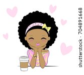 cute girl with coffee cup day... | Shutterstock .eps vector #704891668