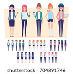 flat vector girls  for your... | Shutterstock .eps vector #704891746