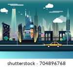 statue of liberty and landmarks ...   Shutterstock .eps vector #704896768