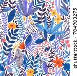 tropical seamless floral... | Shutterstock .eps vector #704903275