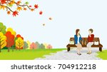 two women lunch in the autumn...   Shutterstock .eps vector #704912218