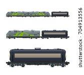 green locomotive with railway... | Shutterstock .eps vector #704913556