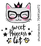 t shirt design baby kitty with... | Shutterstock .eps vector #704916472