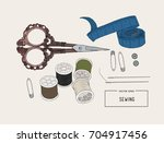 color set of objects for sewing ...   Shutterstock .eps vector #704917456