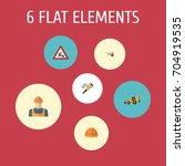 flat icons pneumatic  worker ... | Shutterstock .eps vector #704919535
