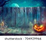 halloween background. spooky... | Shutterstock . vector #704929966