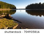 mountain lake with pine forest... | Shutterstock . vector #704935816
