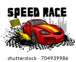 speed race poster with red... | Shutterstock .eps vector #704939986