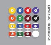 complete set of billiard balls... | Shutterstock .eps vector #704940355